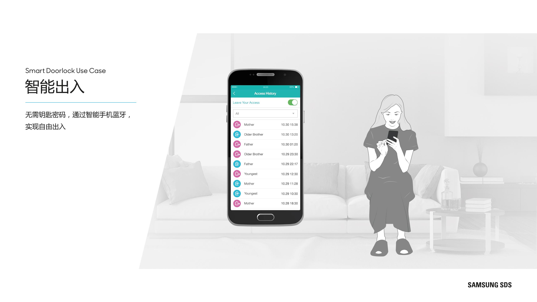 通过智能手机APP, 可确认访客出入记录