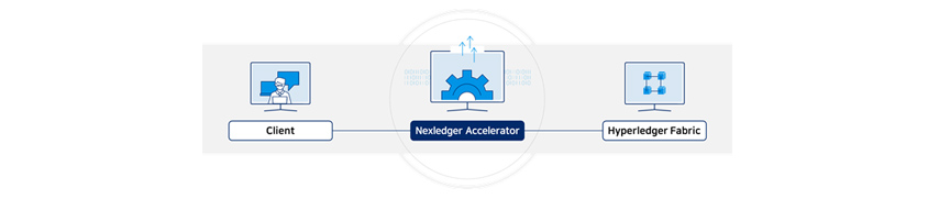 Client connects to Hyperledger Fabric with the Nexledger Accelerator function, second-layer architecture software.