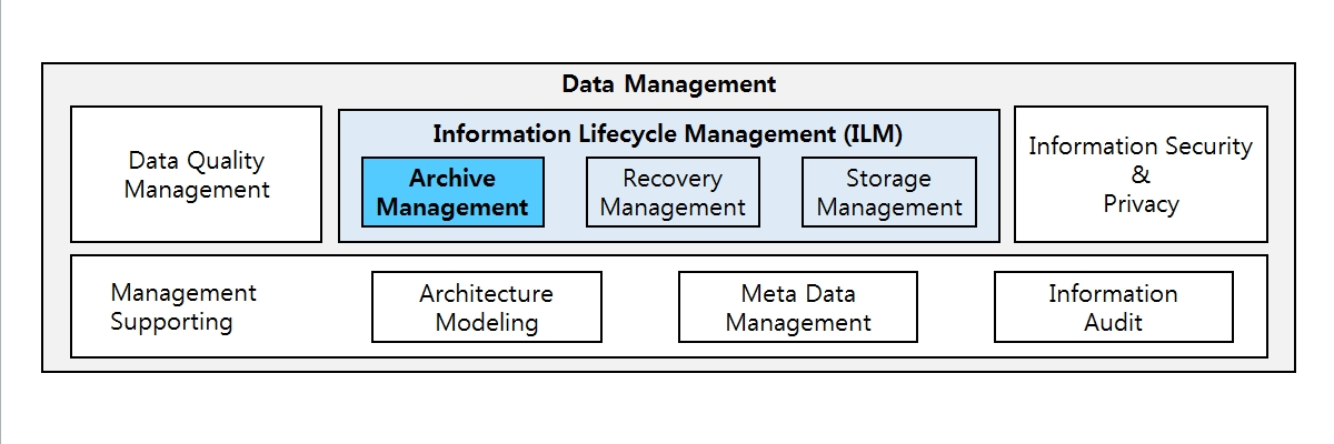 Data Management Architecture : It shows that ILM is a part of corporate data management functions. Corporate data management functions include various functions such as Data Quality Management, Informmation Lifecycle Management(ILM), Information Security & Privacy, Management Supporting. ILM is a region of corporate data management that includes data archiving and repair management.