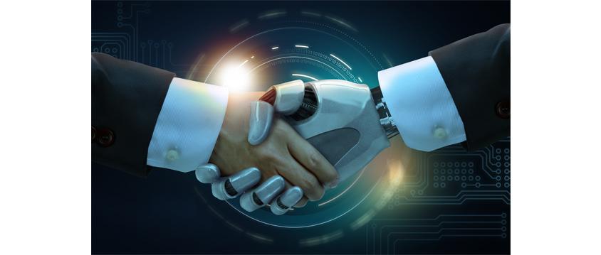인간과 기계가 악수하는 모습