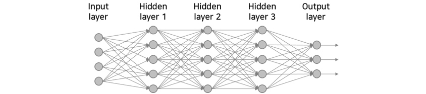 input layer, hidden layer 1, hiden layer 2, hidden layer 3, output layer