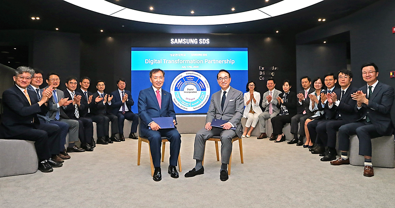 Dr. WP Hong, President and CEO of Samsung SDS, and Dong Ryeol Shin, President of Sungkyunkwan University attended the signing ceremony at Samsung SDS headquarters on July 17.