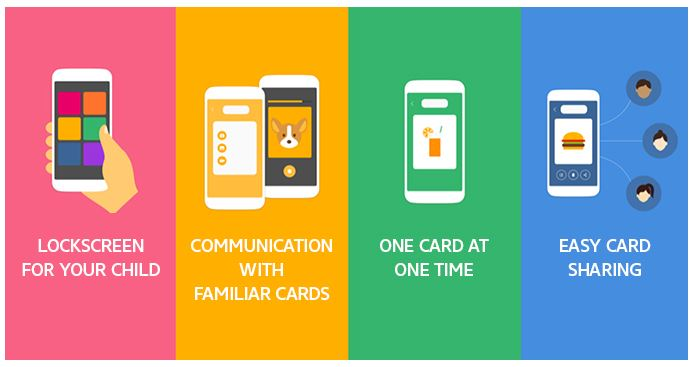 LOCKSCREEN FOR YOUT CHILD, COMMUNICATION WITH FAMILIAR CARDS, ONE CARD AT ONE TIME, EASY CARD SHARING
