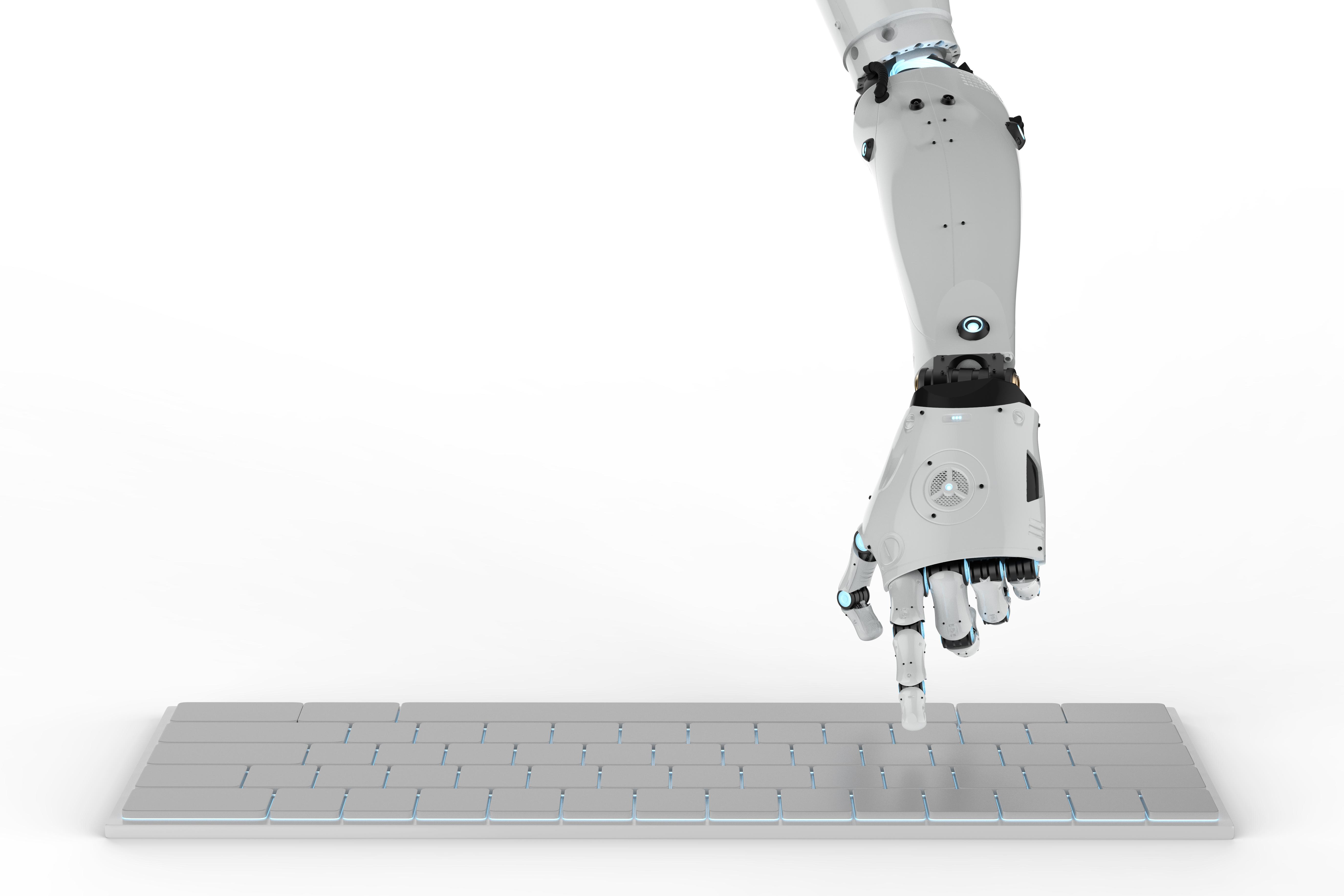 robot hand on keyboard