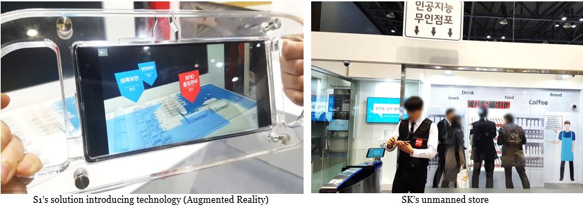 S1's solution introducing technology (Augmented Reality), SK's unmanned store