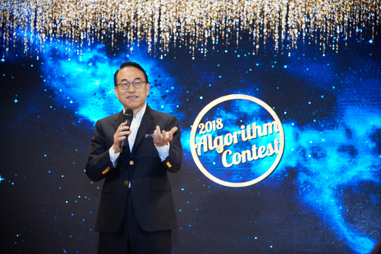 Samsung SDS President & CEO,  Dr. WP Hong, gives words of encouragement at the 'Algorithm Contest' held at the Samsung SDS Jamsil Campus on September 13.