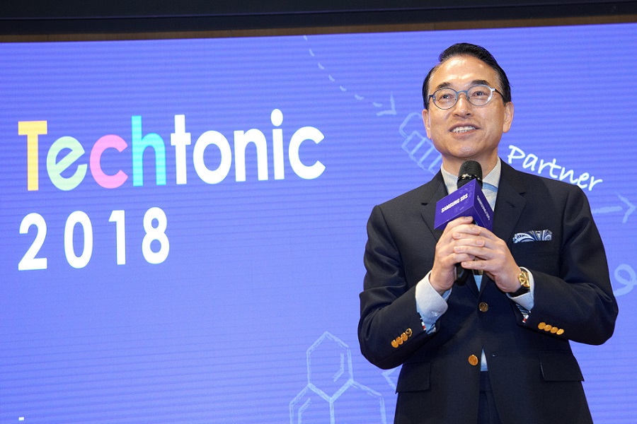 Samsung SDS President and CEO, Dr. Won-pyo Hong giving the opening remarks at the Techtonic 2018 at its Jamsil Campus in Korea on November 15th.