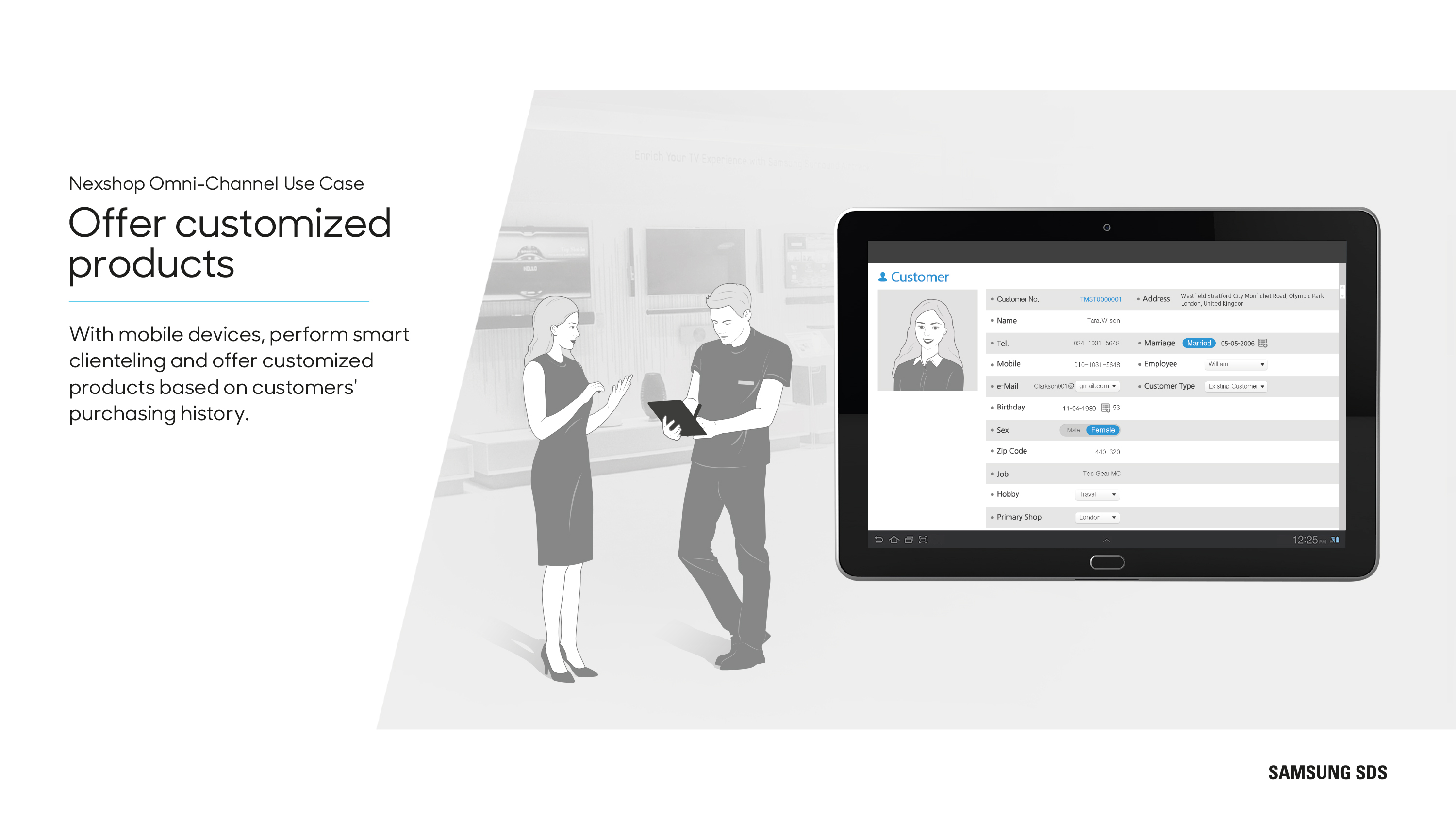 With mobile devices, perform smart clienteling and offer customized products based on customers' purchasing history.
