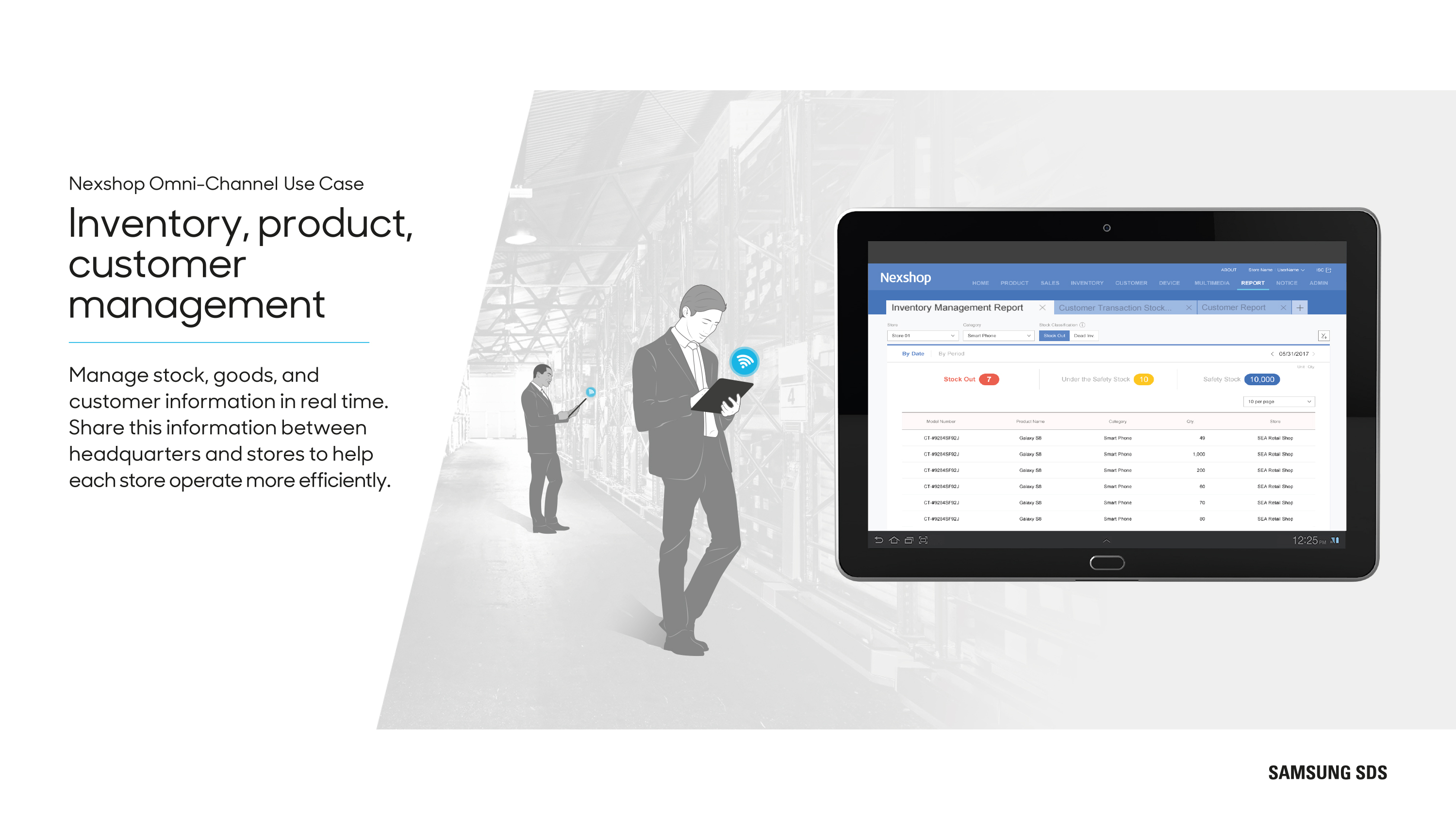 Manage stock, goods, and customer information in real time. Share this information between a headquarter and stores to help each store operate efficiently.