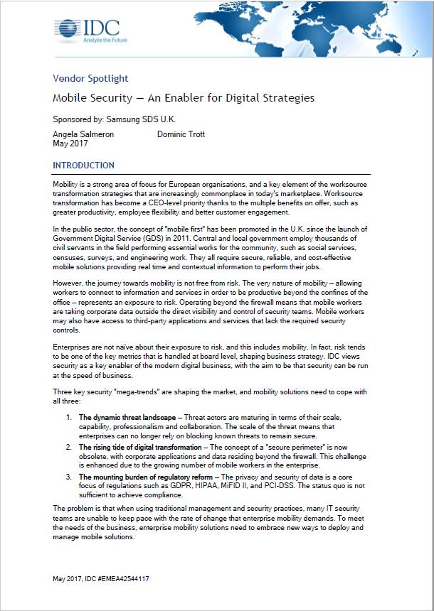 Mobile Security - an Enabler for Digital Strategies