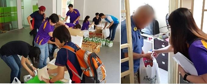 Packing food bundles and distributing it to the elderly