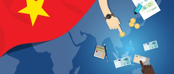 Vietnam economy fiscal money trade concept illustration of financial banking budget with flag map and currency