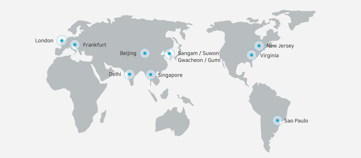 Data center in Korea Sangam / Suwon / Kwacheon / Gumi, Data centers overseas London / Frankfurt / Beijing / Deli / Singapore / Verginia / New Jergy / San Paulo