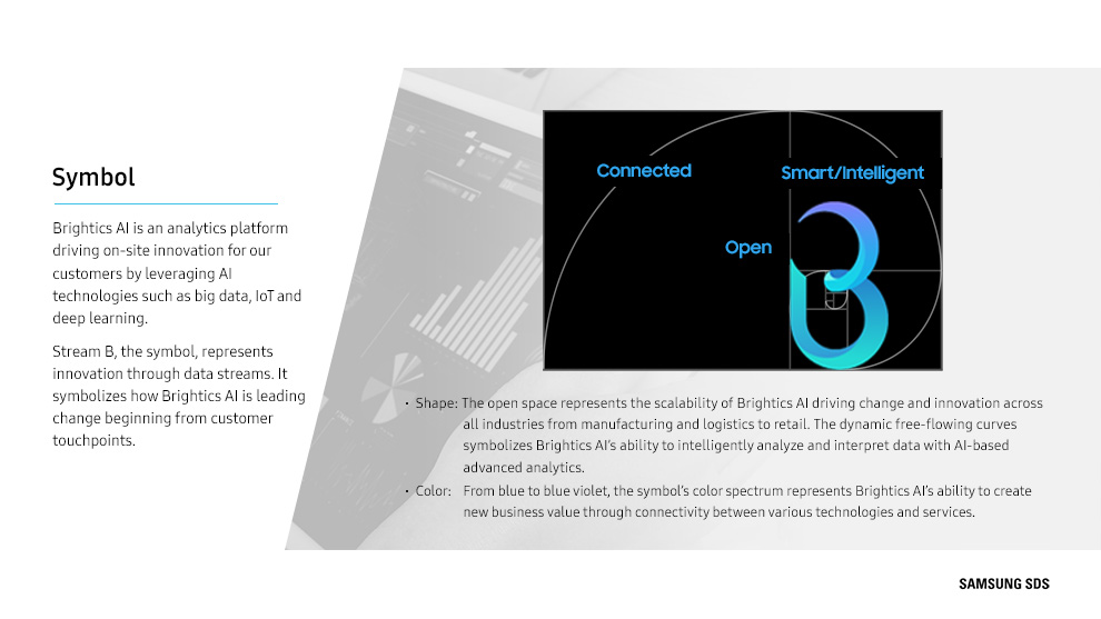 The symbol's shape mean that the open space represents the scalability of Brightics AI driving change and innovation across all industries from manufacturing and logistics to retail. The dynamic free-flowing curves symbolizes Brightics AI's ability to intelligently analyze and interpret data with AI-based advanced analytics.   From blue to blue violet, the symbol's color spectrum represents Brightics AI's ability to create new business value through connectivity between various technologies and services