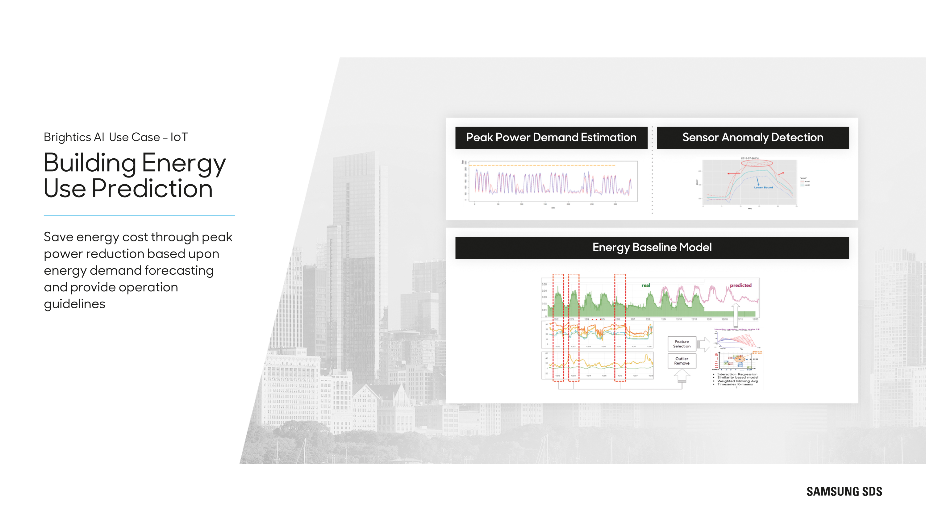 Building Energy Use Prediction Save energy cost through peak power reduction based upon energy demand forecasting and provide operation guidelines