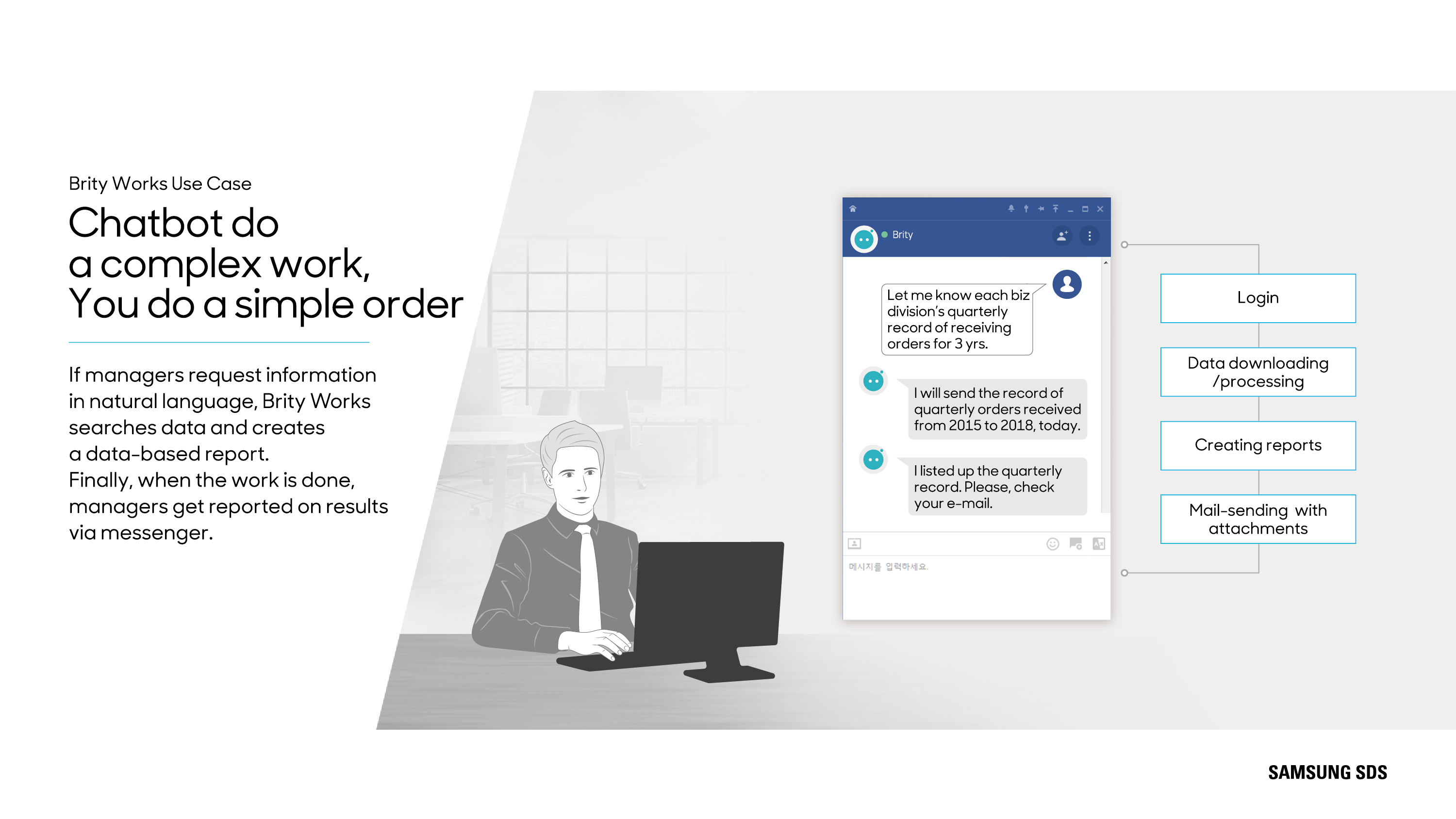 Chatbot do a complex work, You do a simple order  If managers request information in natural language, Brity Works searches data and creates a data-based report. Finally, when the work is done, managers get reported on results via messenger.  B2B, AI, Chatbot, RPA