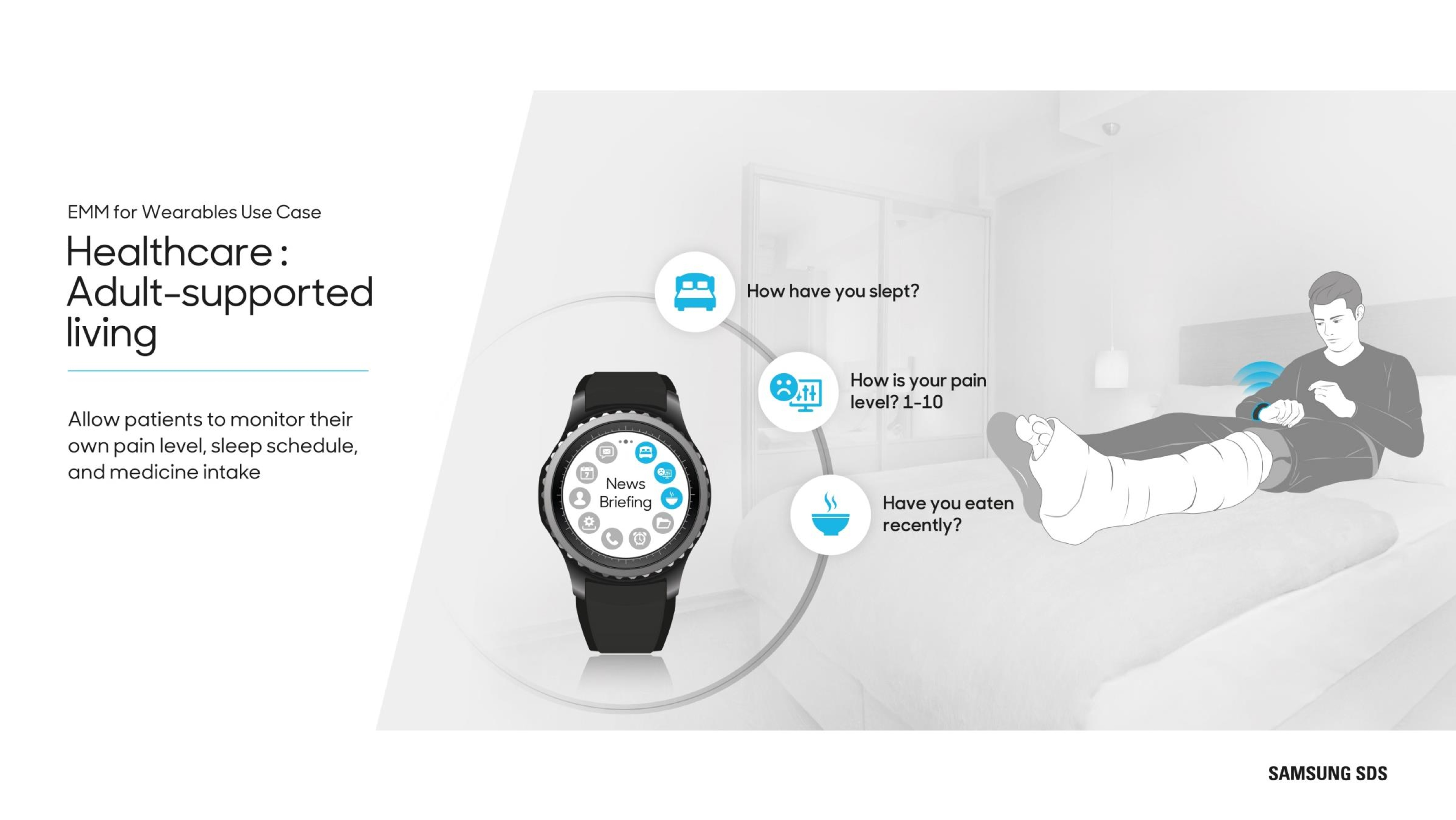 Wearables in Healthcare Allow patients to monitor their own pain level sleep schedule and medicine intake.