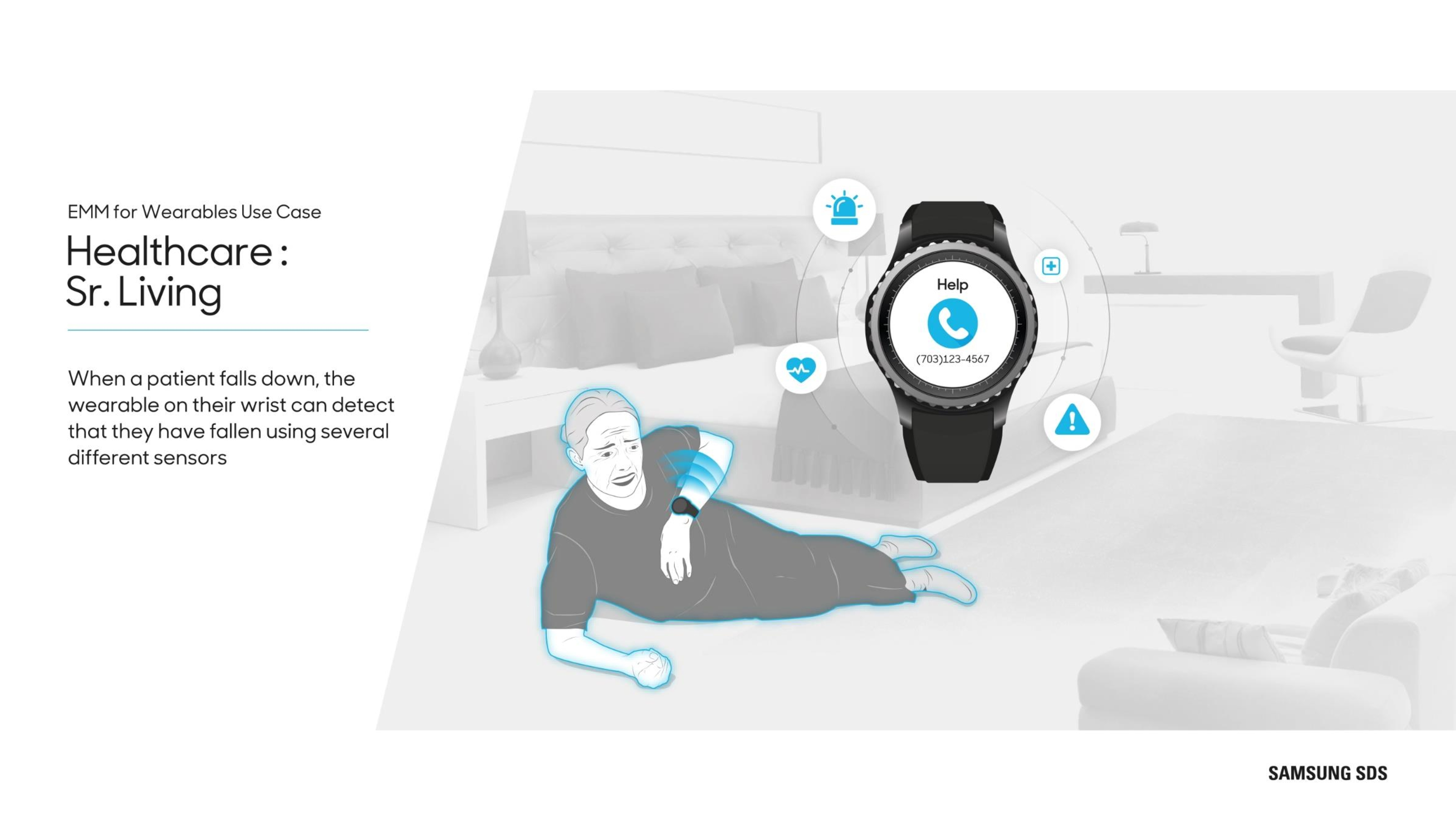 Wearables in Healthcare When a patient falls down, the wearable on their wrist can detect that they have fallen using several different sensors.