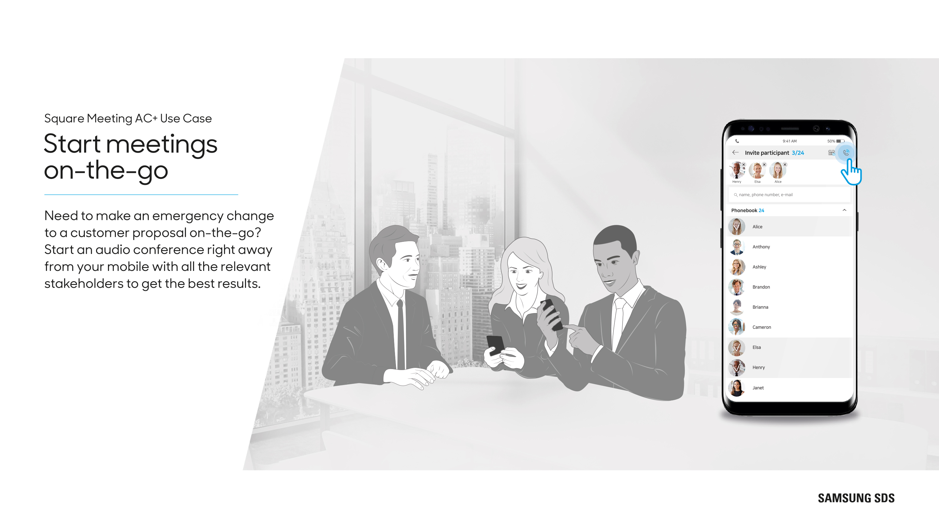 Start meetings on-the-go from your mobile
