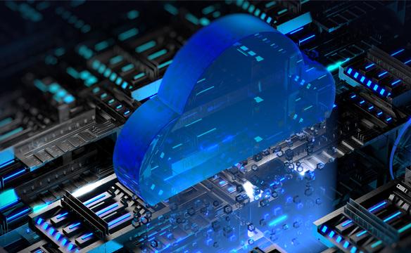 전자회로 위에 클라우드 모양이 놓여진 형태의 이미지