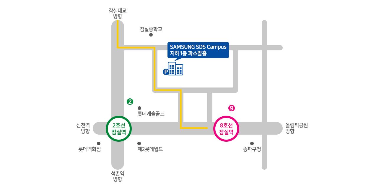 오시는길 - 서울특별시 송파구 올림픽로 35길 123 ,  서관 B1 파스칼홀, 파트너협력센터
