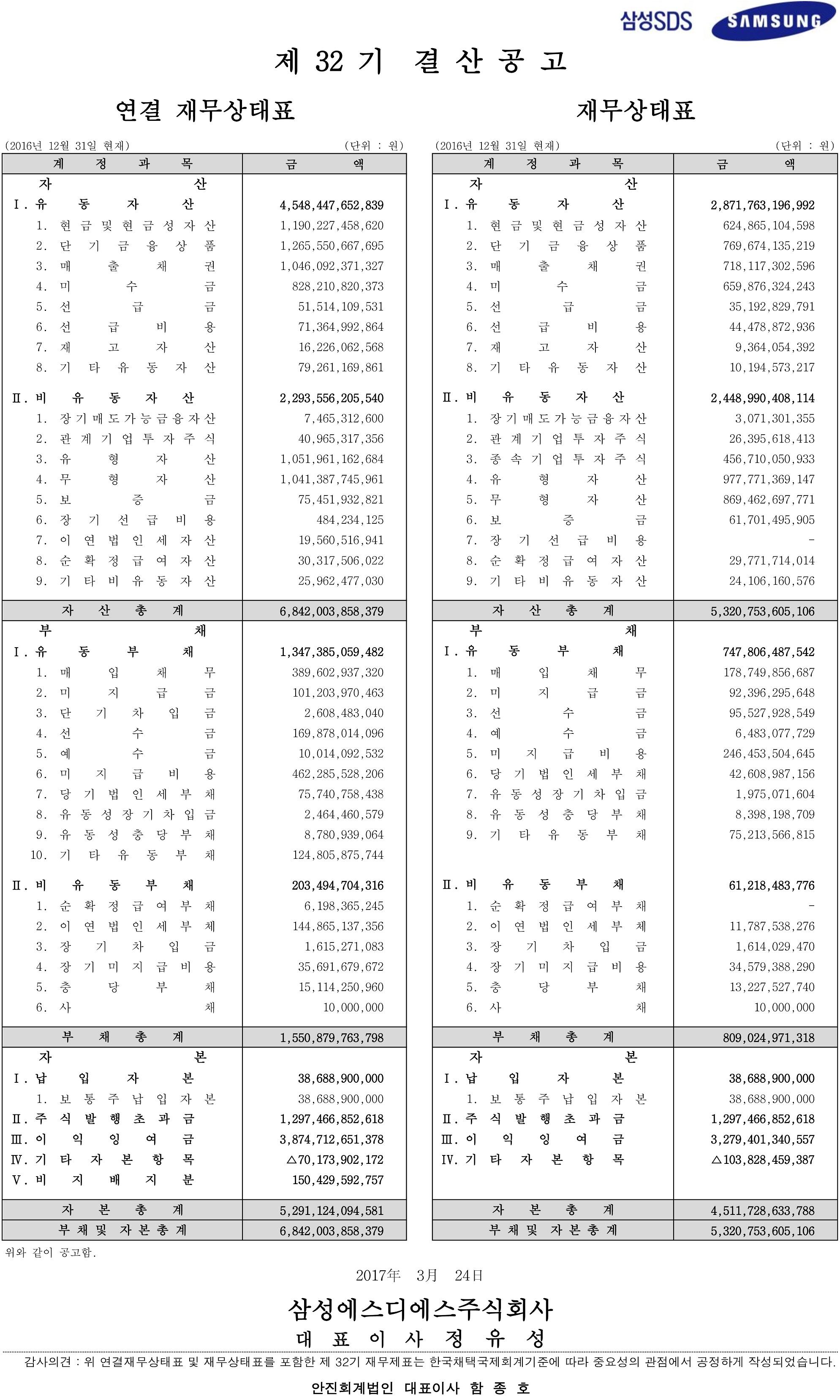 2017년 3월24일  삼성SDS  제32기 결산공고