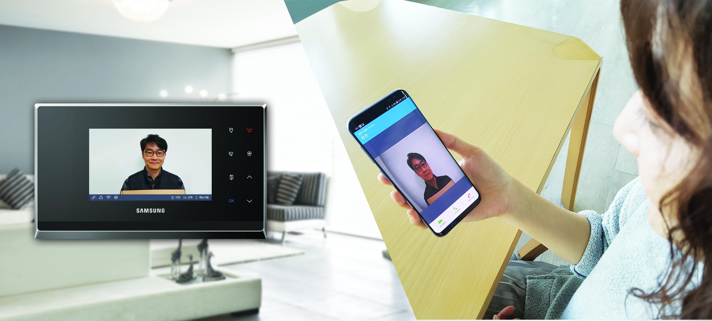 방문객이 도어벨을 누르자, 삼성SDS 스마트 월패드(모델명: SHP-HA400)와 연동된 스마트폰으로 자동 연결되어 영상 통화하는 모습
