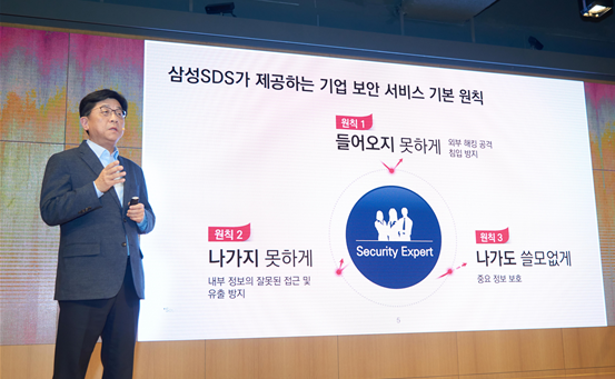 '기업과 보안'에 대해 설명하는 삼성SDS 보안사업담당 한성원 상무