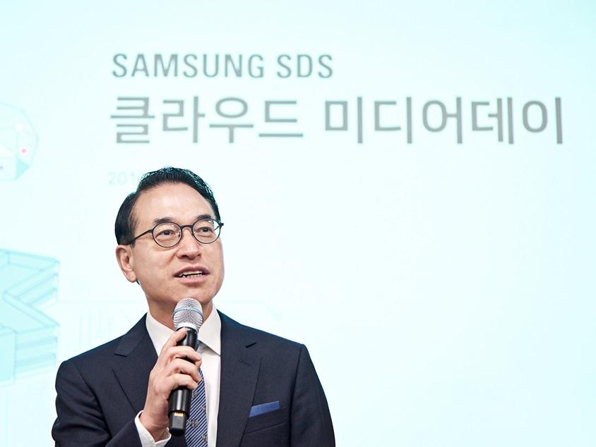 삼성SDS 홍원표 대표가 20일 춘천 데이터센터에서 열린 '클라우드 미디어데이' 에서 환영사를 전하고 있다.