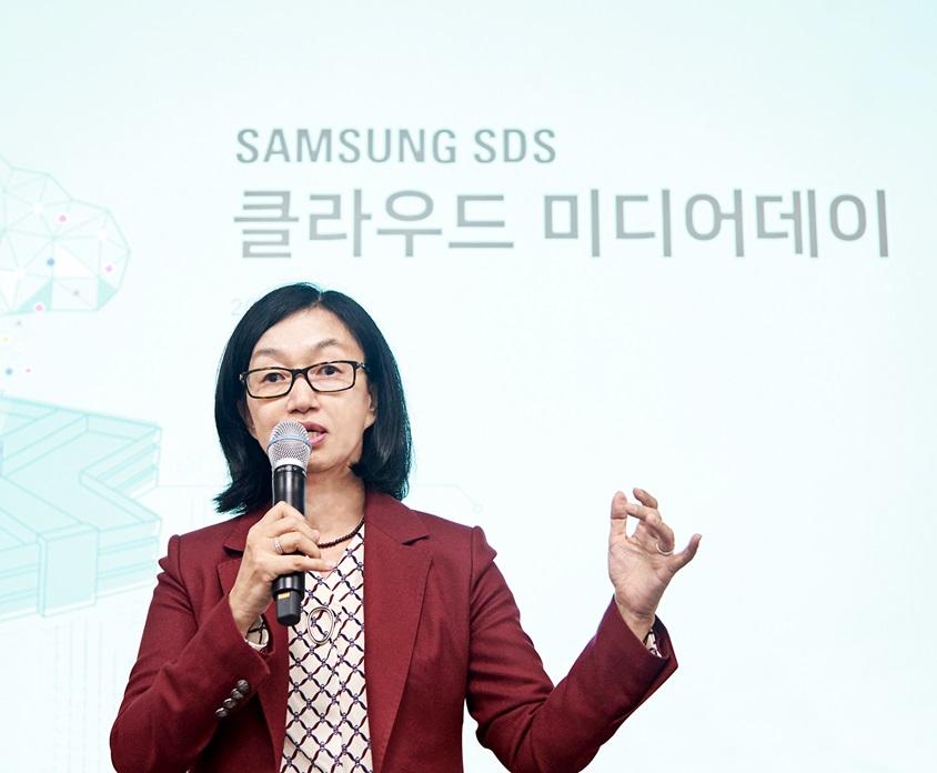 삼성SDS 클라우드사업부장 윤심 부사장이 '삼성SDS 클라우드'를 소개하고 있다.