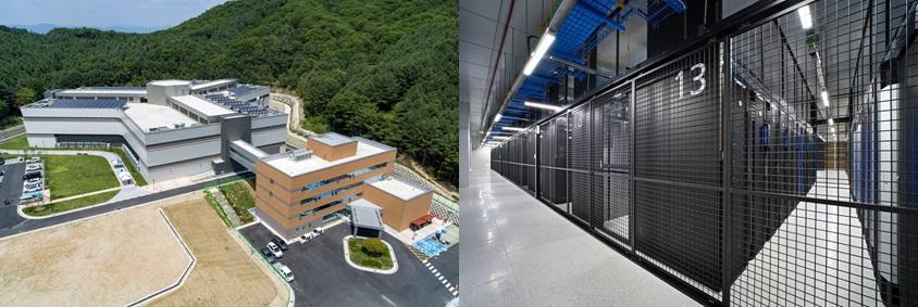 삼성SDS 춘천 데이터센터 전경(왼쪽)과 삼성SDS 춘천 데이터센터 서버룸(오른쪽)