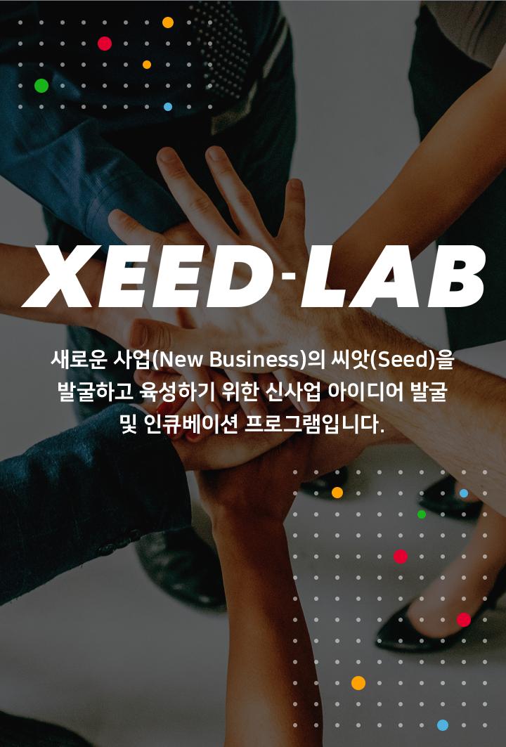 XEED-LAB, 새로운 사업(New Business)의 씨앗(Seed)을 발굴하고 육성하기 위한 신사업 아이디어 발굴 및 인큐베이션 프로그램입니다.