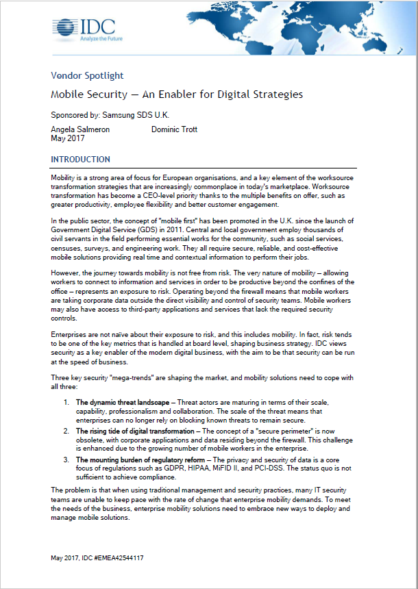 IDC Vendor Spotlight: 모바일 시큐리티 - 디지털 비즈니스의 핵심