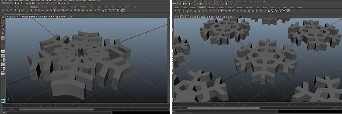 3D 모델링을 완료한 눈꽃 결정 모양 모델링