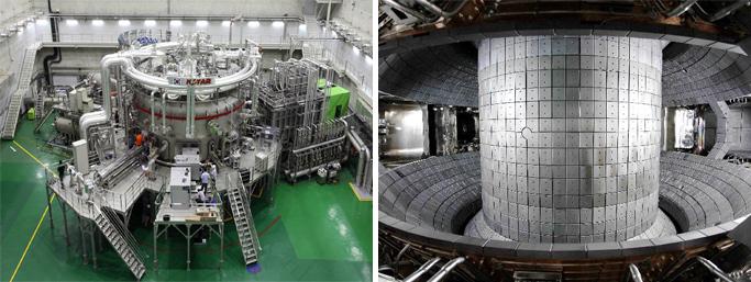 한국의 핵융합장치 KSTAR의 외관(좌) / KSTAR의 내부(우)