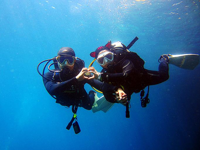 부부나 커플 등 가족 단위의 동반 다이빙을 즐기는 삼성SDS 스쿠버 동호회 회원들의 모습