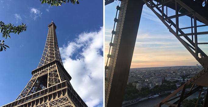 파리의 상징인 에펠탑과 그 사이로 펼쳐진 해 질 녘 파리