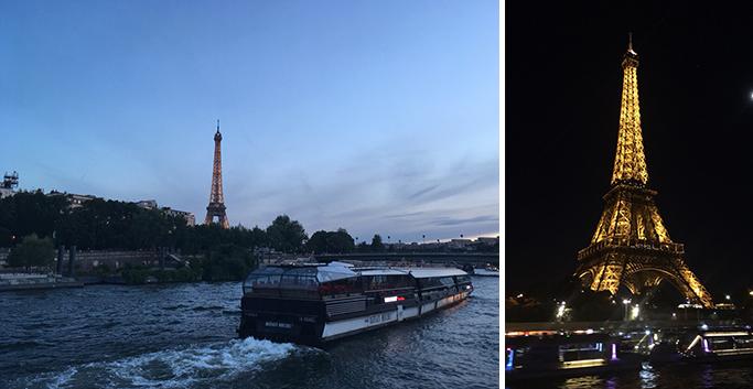 유람선에서 촬영한 센 강과 조명이 켜진 에펠탑