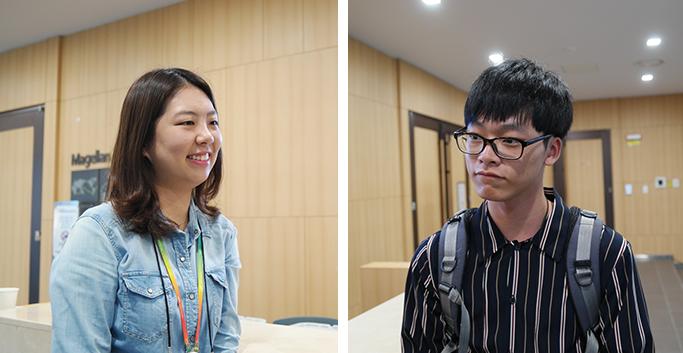 삼성SDS 김혜정 엔지니어(좌)와 경북대학교 류진용 학생(우)