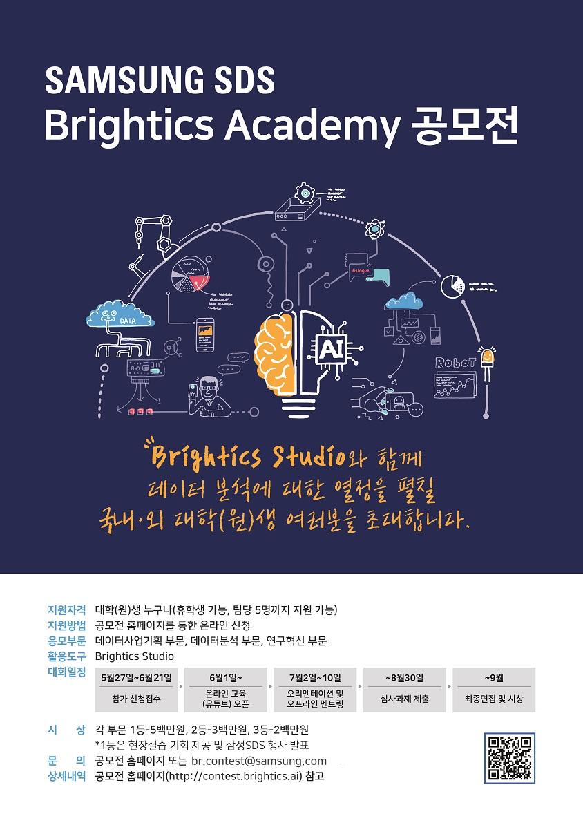 지원자격 : 국내∙외 대학생 및 대학원생 (휴학생 가능, 5명까지 팀 구성) 지원방법 : 공모전 홈페이지를 통해 회원가입 후 온라인 신청 응모부문 : 데이터사업기획 부문, 데이터분석부문, 연구혁신 부문, 활용 도구 : Brightics Studio 대회일정 : 5월 27일 ~ 6월 21일 참가신청 접수 -> 6월 1일~ 온라인 교육(유튜브) 오픈 -> 7월 2일 ~ 10일 오리엔테이션 및 오프라인 멘토링 / ~8월 30일 심사과제 제출 -> ~9월 최종면접 및 시상 / 시상 : 각 부문 1등 - 5백만원, 2등- 3백만원, 3등 - 2백만원 *1등은 현장실습 기회 제공 및 삼성SDS 행사 발표 / 문의 : 공모전 홈페이지 또는 br.contest@samsung.com /상세내역 :  공모홈페이지(http://contest.brightics.ai) 참고