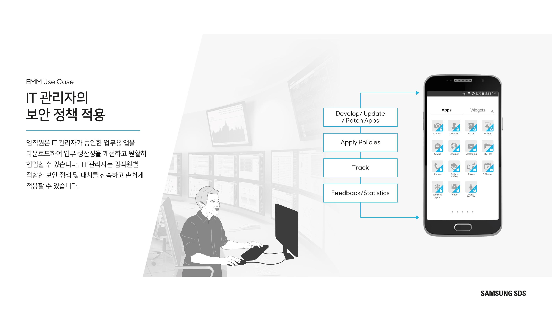 IT 관리자의 보안 정책 제공 임직원은 IT관리자가 승인한 업무용 앱을 다운로드 하여 업무 생산성을 개선하고 원활히 협업할 수 있습니다. IT 관리자는 임직원별 적합한 보안 정책 및 패치를 신속하고 손쉽게 적용할 수 있습니다.