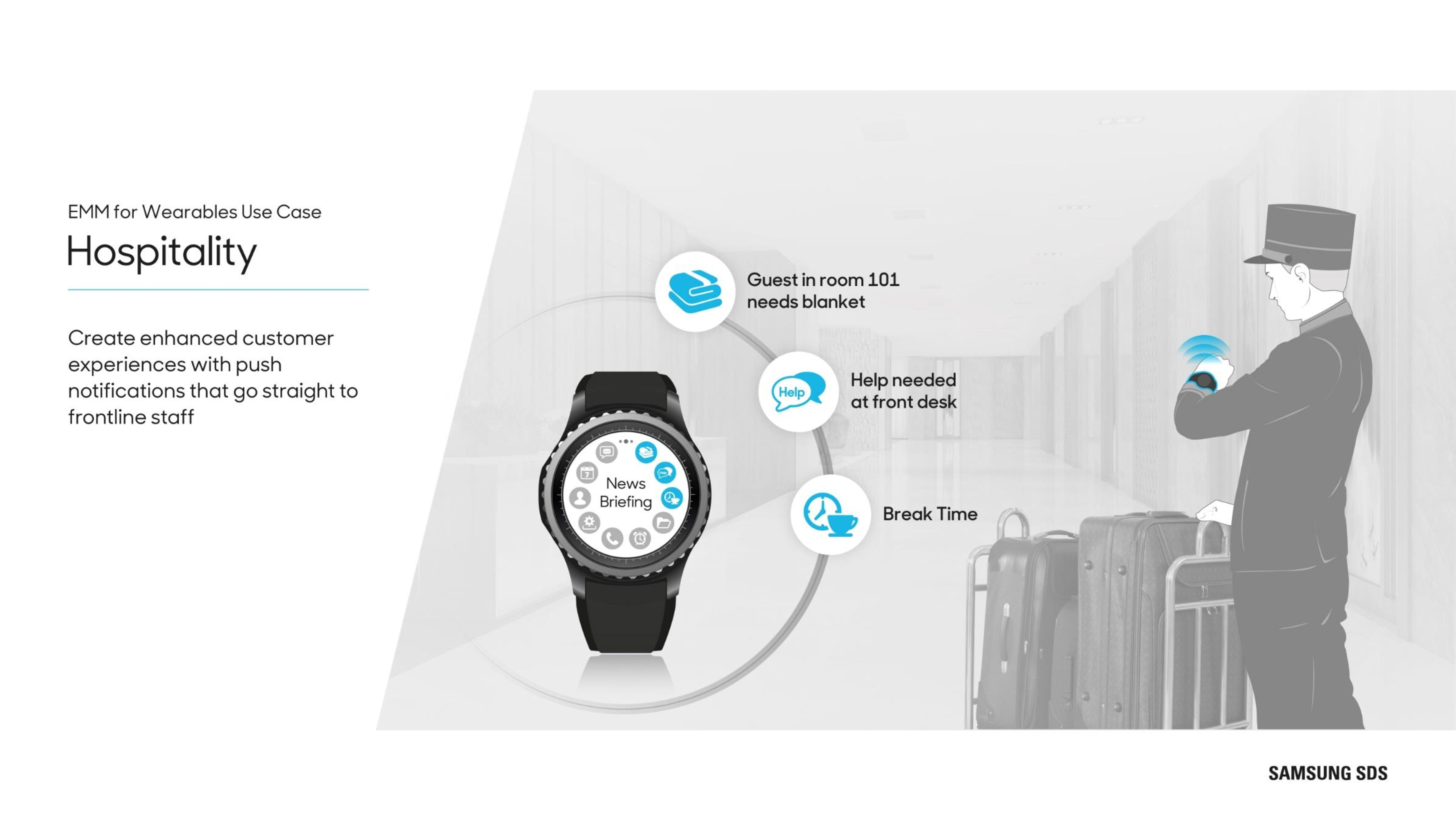 Wearables in Hospitality Create enhanced customer experience with push notifications that go straight to frontline staff