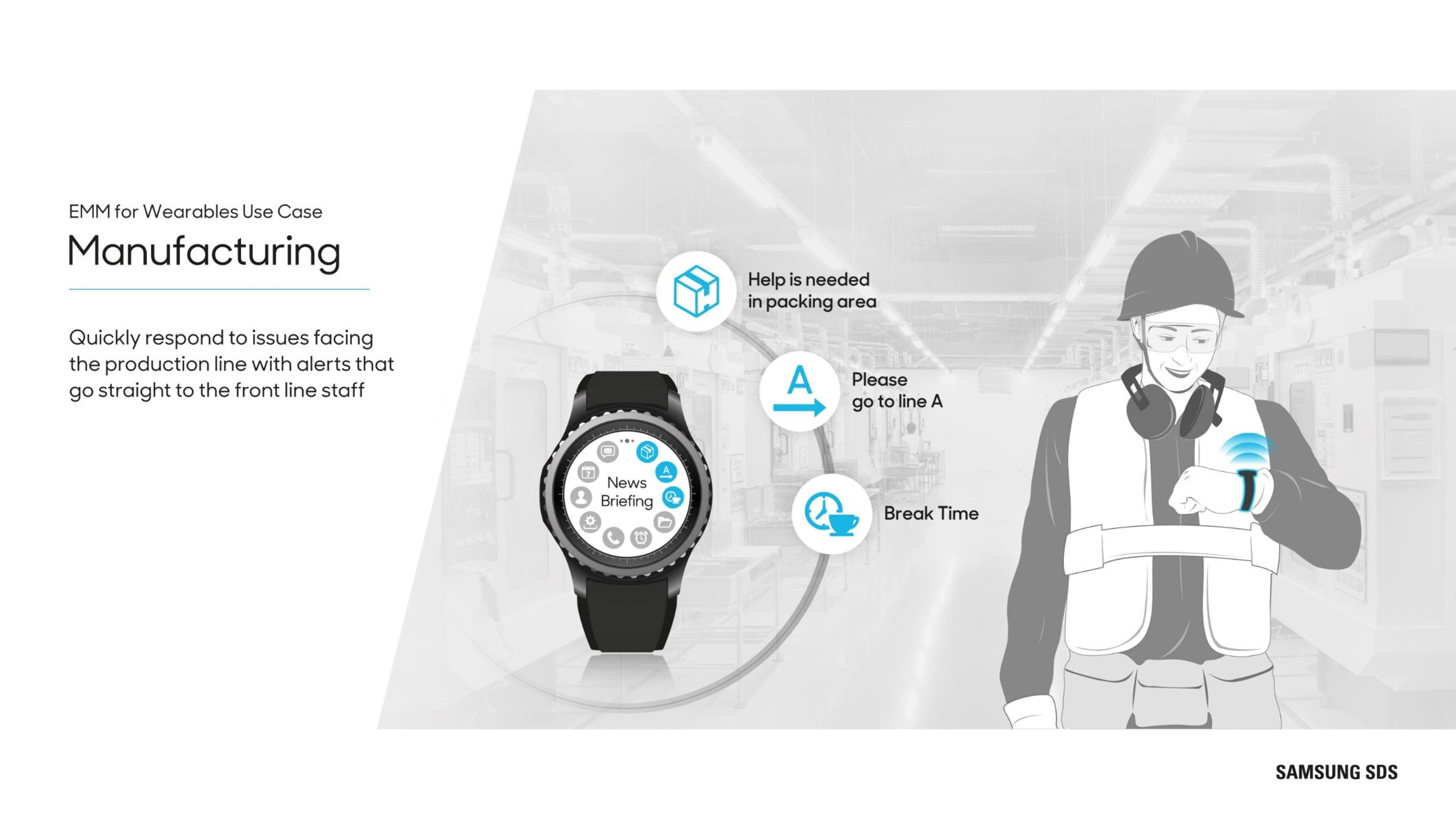 Wearables in Manufacturing Quickly respond to issues facing the production line with alerts that go straight to the front line staff