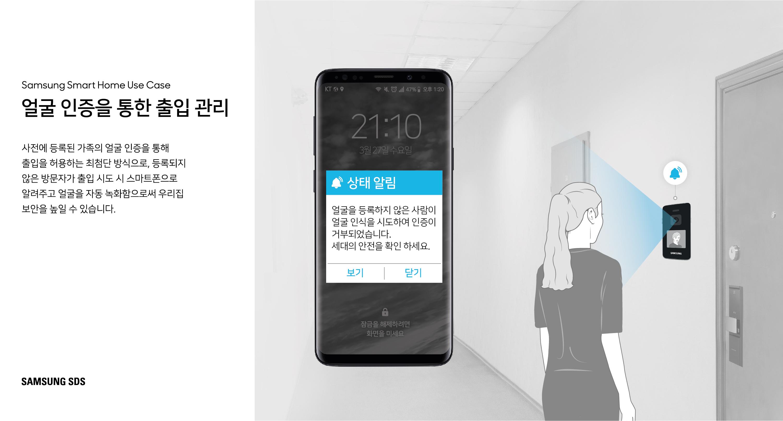 얼굴 인증을 통한  출입 관리  사전에 등록된 가족의 얼굴 인증을 통해 출입을 허용하는 최첨단 방식으로, 등록되지 않은 방문자가 출입 시도 시 스마트폰으로 알림을 전송합니다.