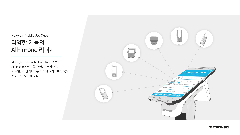 다양한 기능의 All-in-one 리더기 바코드, OR코드 및 RFID를 처리할 수 있는 All-in-one 리더기를 모바일에 부착하여, 제조 현장의 엔지니어는 더 이상 여러 디바이스를 소지할 필요가 없습니다.