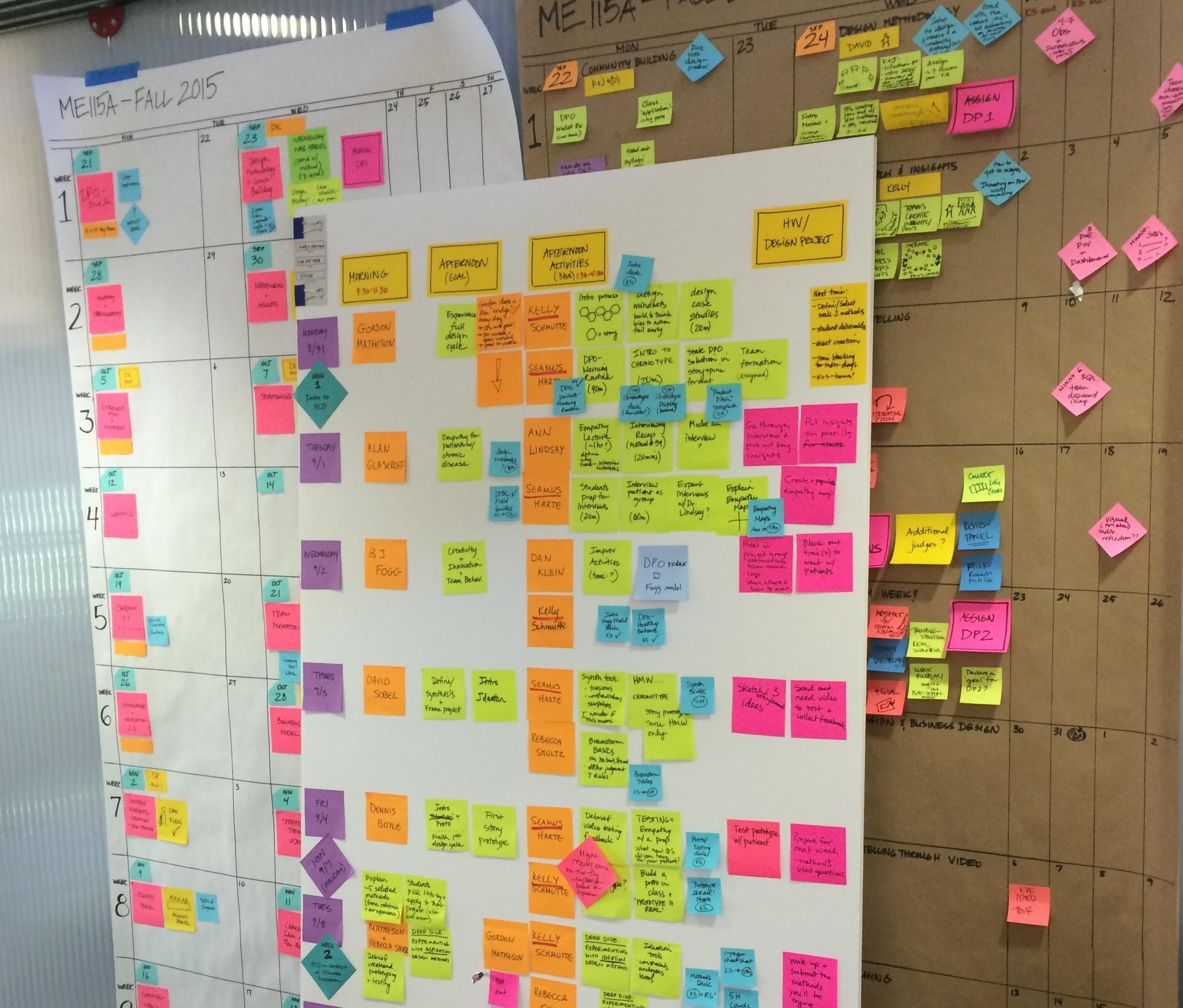 프로젝트의 이슈보드 모습, 벽에 포스트잇으로 다양한 의견들을 붙여 둔 모습