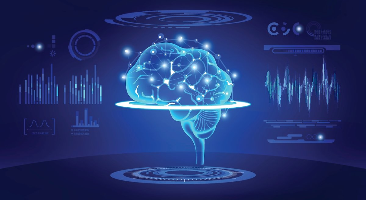 두뇌와 데이터를 분석하는 그래프들의 이미지