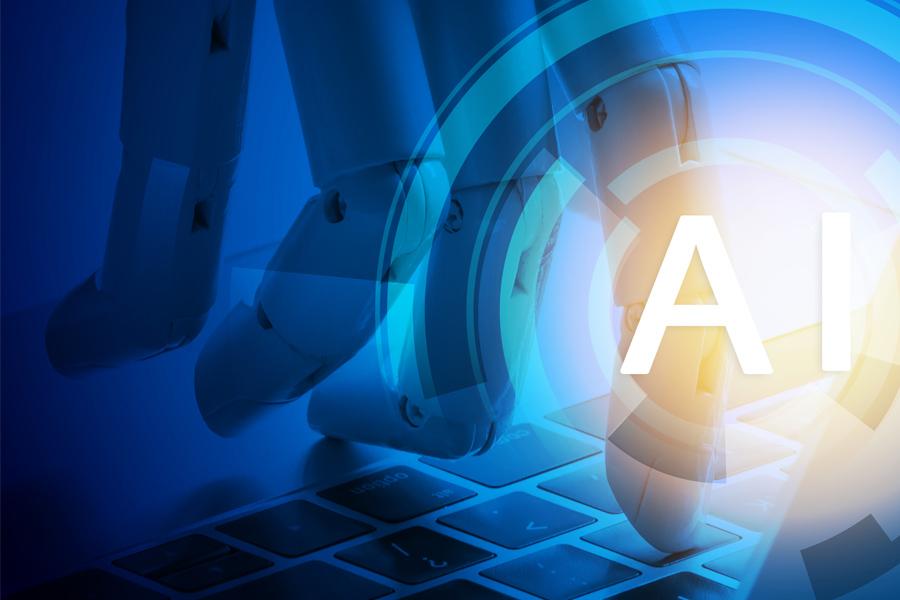 로봇이 키보드를 타이핑하고 있으며, AI라는 글자가 화면 우측하단에 보여지는 이미지