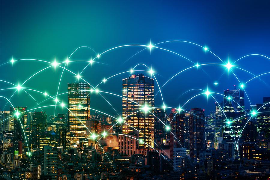 AI 기술이 건물에 적용된 느낌을 준 도시 야경