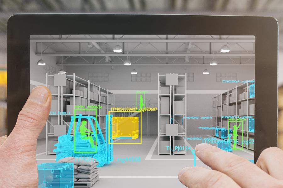 AR 기술을 통해 미리 제조현장 동선을 점검하는 이미지